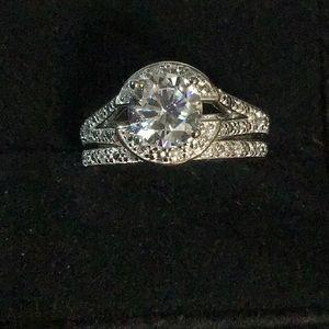 Sterling Silver Infinite Engagement Ring Set